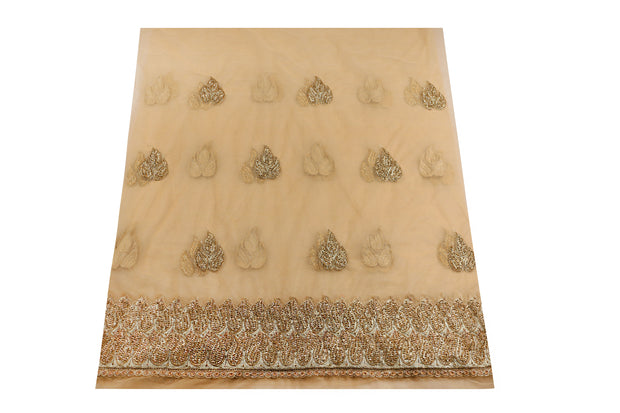 Hand Embroidered George Wrapper Design # 6677 - Champagne Gold - With Blouse