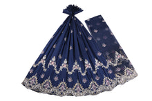 Load image into Gallery viewer, Machine Embroidered George Wrapper Design # 7435 - Navy Blue - With Blouse
