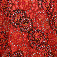 Load image into Gallery viewer, Hand Embroidered Fabric Design # 4173 - Burnt Orange - Per Yard