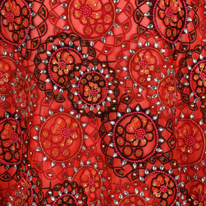 Hand Embroidered Fabric Design # 4173 - Burnt Orange - Per Yard