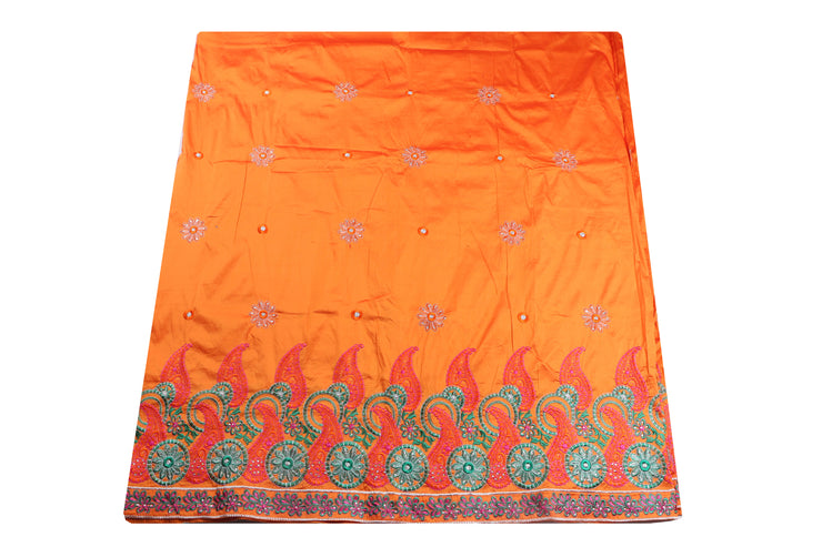 Machine Embroidered George Wrapper Design # 7079 - Burnt Orange - Without Blouse