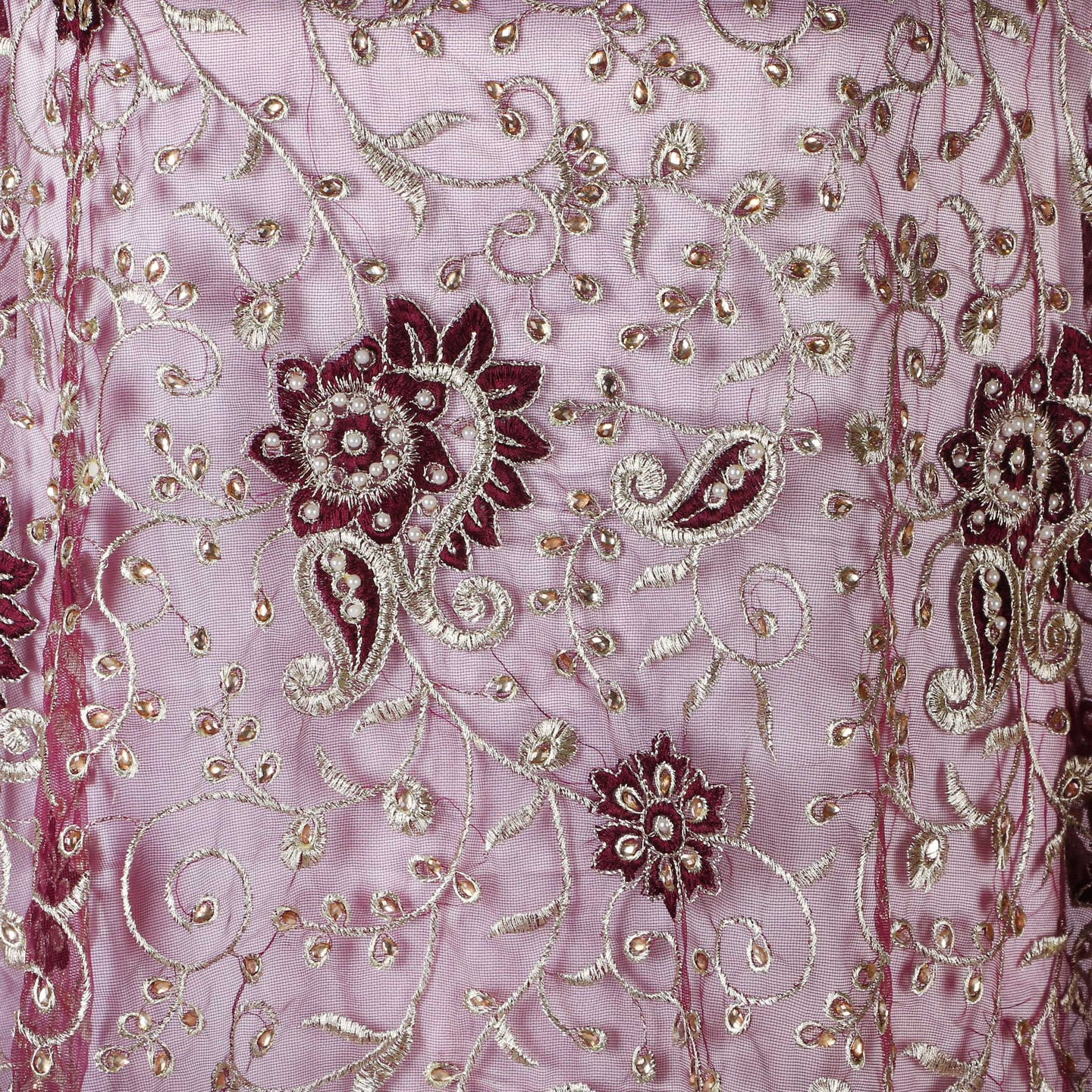 Machine Embroidered Fabric Design # 4132 - Magenta - Per Yard