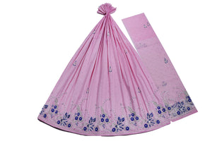Hand Embroidered George Wrapper Design # 9546 - Baby Pink - With Blouse