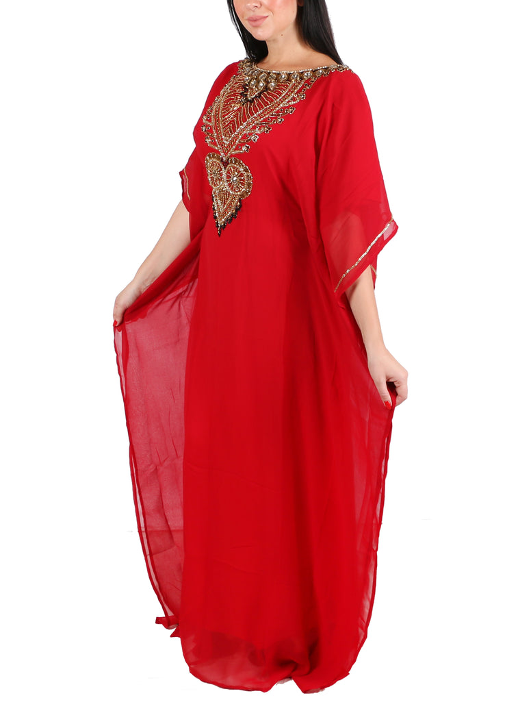 Kaftan Design # 7199 - Red - Free Size