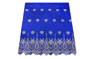 Machine Embroidered George Wrapper Design # 7406 - Royal Blue - With Blouse