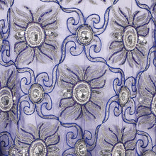 Load image into Gallery viewer, Hand Embroidered Fabric Design # 4025 - Royal Blue - 5 Yard Piece