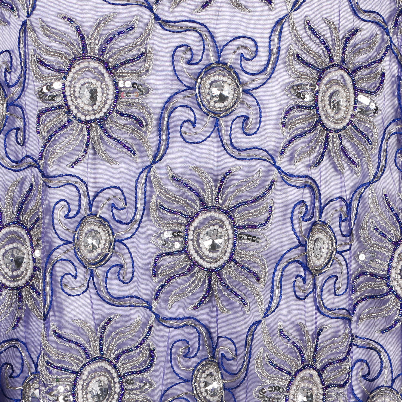 Hand Embroidered Fabric Design # 4025 - Royal Blue - 5 Yard Piece