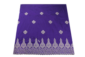 Machine Embroidered George Wrapper Design # 7398 - Purple - With Blouse