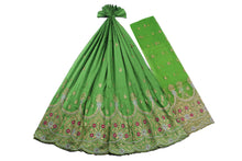 Load image into Gallery viewer, Machine Embroidered George Wrapper Design # 7409 - Lime Green - With Blouse