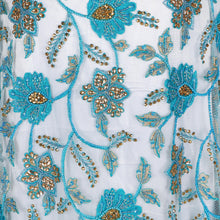 Load image into Gallery viewer, Hand Embroidered Fabric Design # 4176 - Sky Blue - 5 Yard Piece