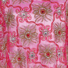 Load image into Gallery viewer, Hand Embroidered Fabric Design # 4110 - Fuchsia Pink - Per Yard