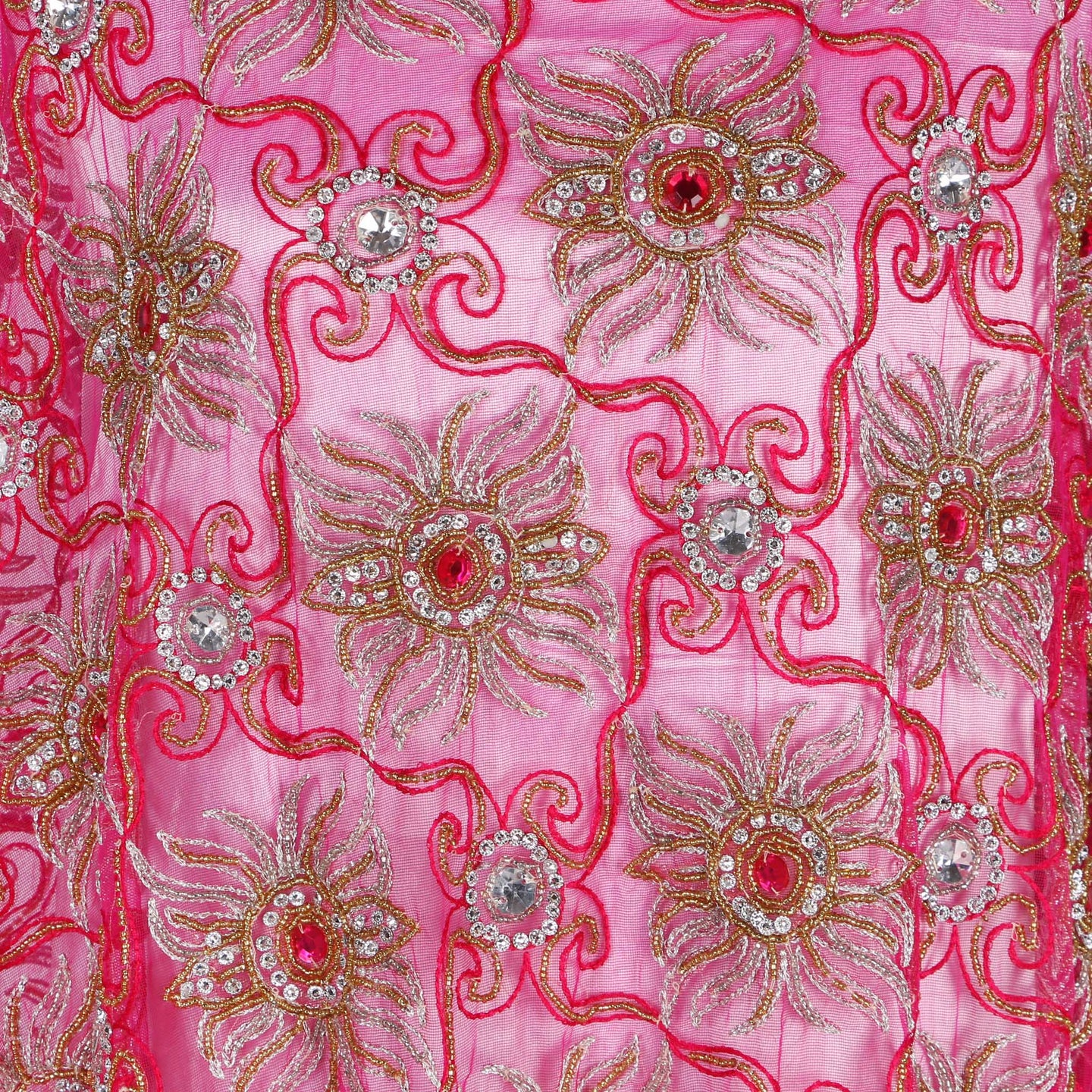 Hand Embroidered Fabric Design # 4110 - Fuchsia Pink - Per Yard