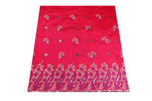 Machine Embroidered George Wrapper Design # 7078 - Fuchsia Pink  - With Blouse