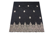 Hand Stoned George Wrapper Design # 6624 - Black - With Blouse