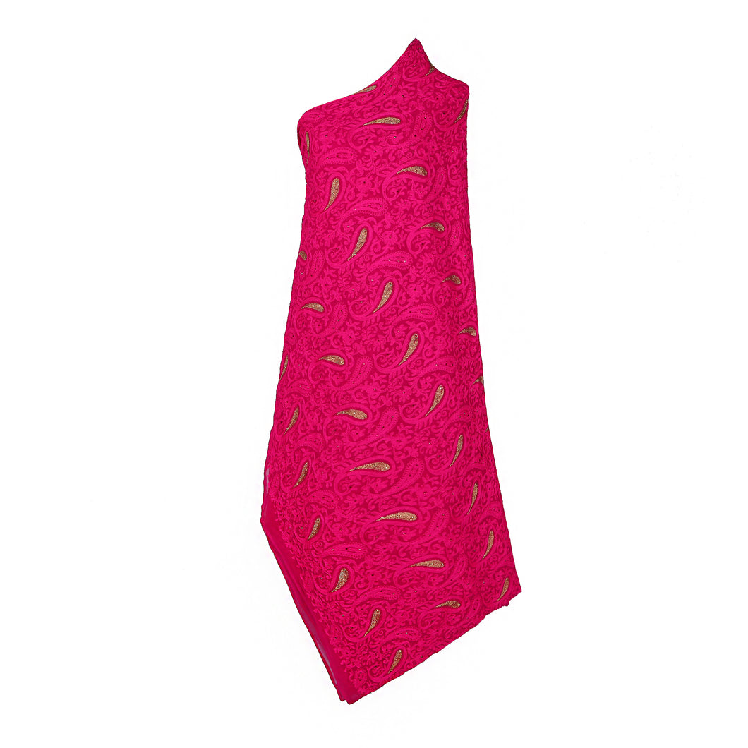 Wrap Around Scarf  Design # 2002 - Fuchsia Pink - 5 Yard Piece
