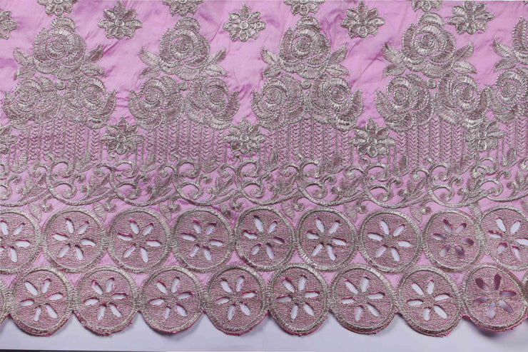 Machine Embroidered George Wrapper Design # 7410 - Baby Pink - With Blouse
