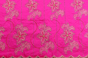 Hand Stoned George Wrapper Design # 6661 - Fuchsia Pink - With Blouse
