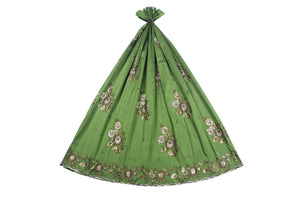 Machine Embroidered George Wrapper Design # 7057 - Olive Green - Without Blouse