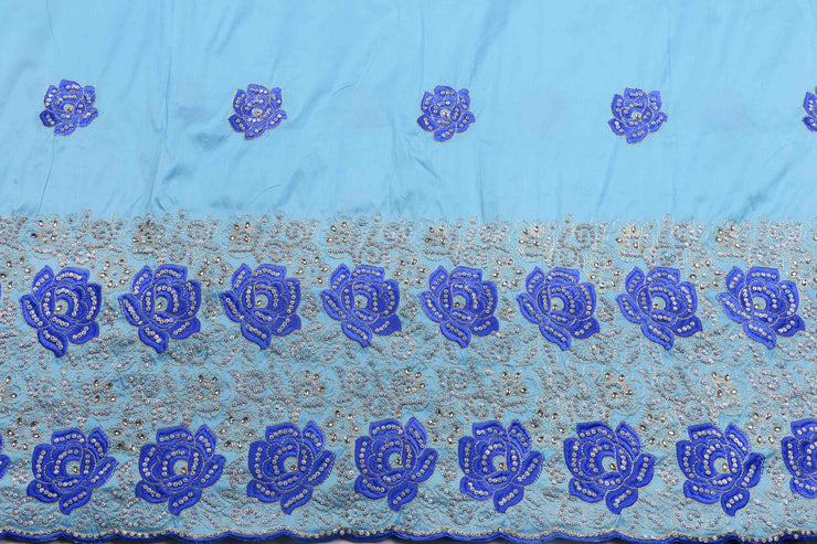 Hand Stoned George Wrapper Design # 6646 - Sky Blue - With Blouse