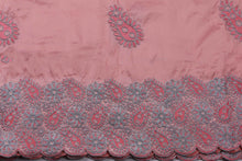 Load image into Gallery viewer, Machine Embroidered George Wrapper Design # 7407 - Peach - With Blouse