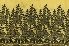 Load image into Gallery viewer, Machine Embroidered George Wrapper Design # 7452 - Yellow - With Blouse