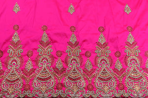 Hand Stoned George Wrapper Design # 6670 - Fuchisa Pink - With Blouse
