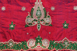 Hand Embroidered George Wrapper Design # 9650 - Magenta - With Blouse