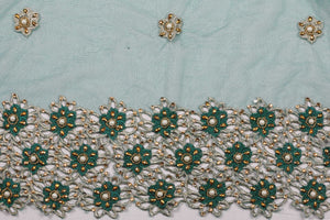 Hand Embroidered Blouse Design # 3185 - Pure Green - 1.7 Yards