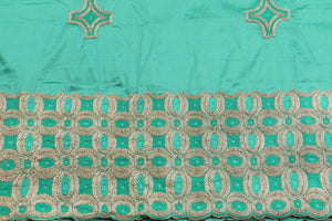 Machine Embroidered George Wrapper Design # 7443 - Aqua Green - With Blouse