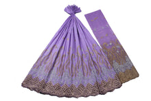 Load image into Gallery viewer, Machine Embroidered George Wrapper Design # 7400 - Lilac - With Blouse
