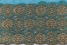 Load image into Gallery viewer, Hand Embroidered Blouse Design # 3361 - Teal Blue - With Blouse - 1.7 Yards