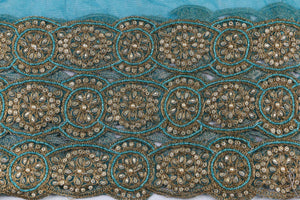 Hand Embroidered Blouse Design # 3361 - Teal Blue - With Blouse - 1.7 Yards