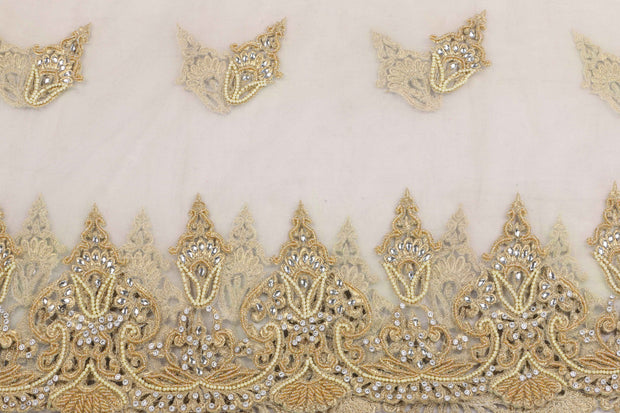 Hand Embroidered Blouse Design # 3398 - Pure White - 1.75 Yards