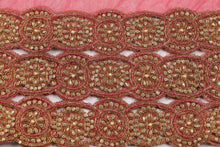 Load image into Gallery viewer, Hand Embroidered Blouse Design # 3361 - Coral - With Blouse - 1.7 Yards