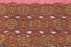 Hand Embroidered Blouse Design # 3361 - Coral - With Blouse - 1.7 Yards