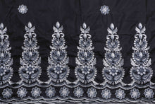 Load image into Gallery viewer, Machine Embroidered George Wrapper Design # 7087 - Black  - With Blouse