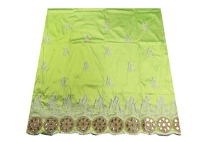 Machine Embroidered George Wrapper Design # 7329 - Lime Green  - With Blouse