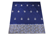 Load image into Gallery viewer, Machine Embroidered George Wrapper Design # 7408 - Navy Blue - With Blouse