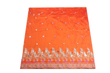 Load image into Gallery viewer, Machine Embroidered George Wrapper Design # 7062 - Burnt Orange - Without Blouse