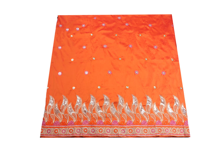 Machine Embroidered George Wrapper Design # 7062 - Burnt Orange - Without Blouse