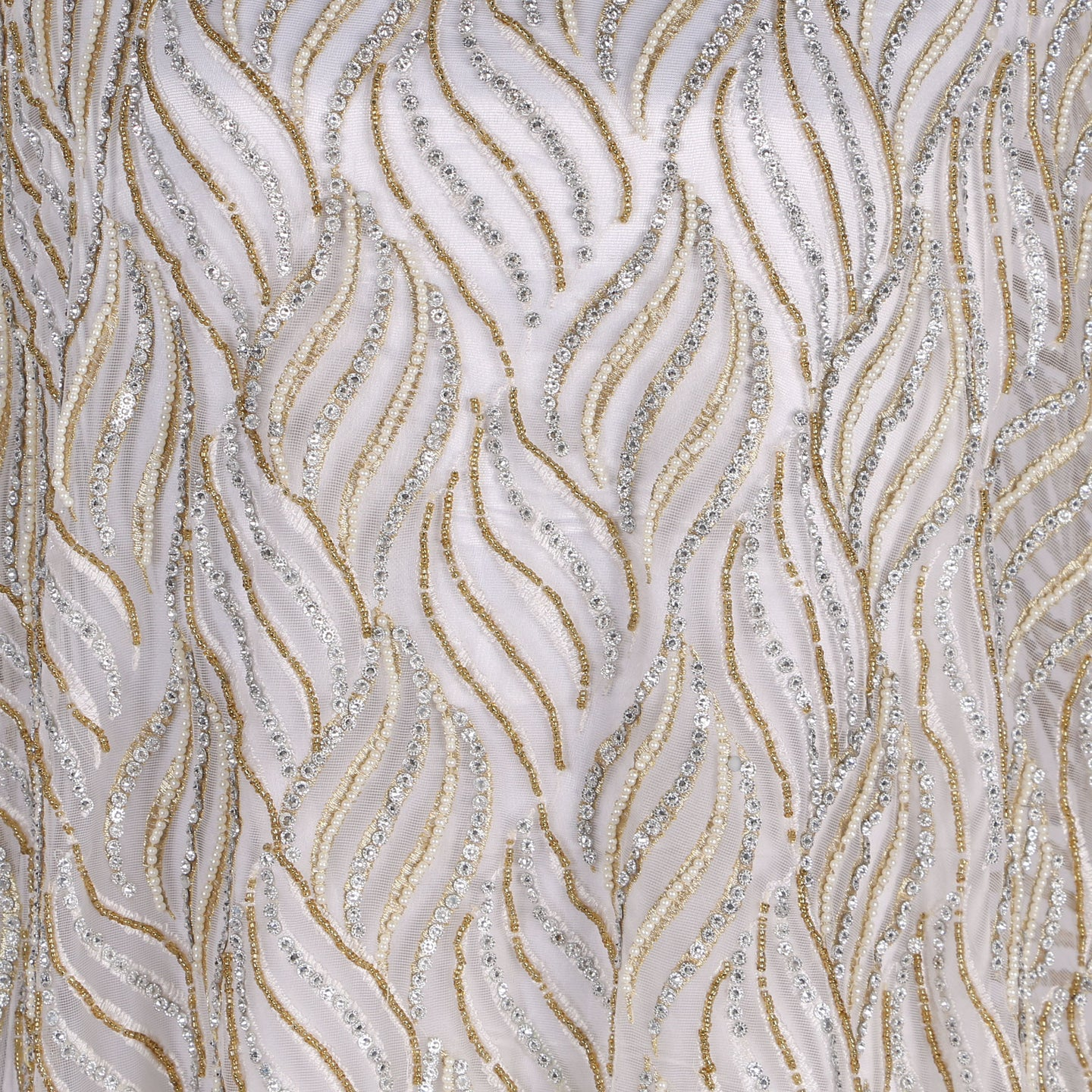 Hand Embroidered Fabric Design # 4114 - Pure White - 5 Yard Piece