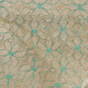 Supreme Lace Design # 3002 - Beige With Aqua Green - 5 Yard Piece