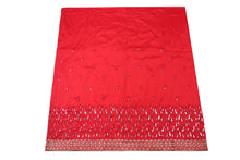 Load image into Gallery viewer, Machine Embroidered George Wrapper Design # 7068 - Red  - With Blouse