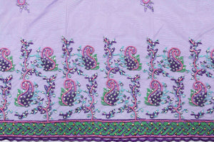 Hand Embroidered Blouse Design # 3300 - Purple - 1.7 Yards