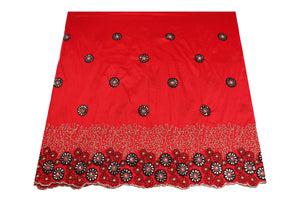 Hand Stoned George Wrapper Design # 6707 - Red - With Blouse