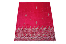 Load image into Gallery viewer, Hand Embroidered George Wrapper Design # 9404 - Fuchsia Pink - With Blouse