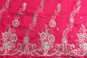 Machine Embroidered George Wrapper Design # 7073 - Fuchsia Pink - Without Blouse