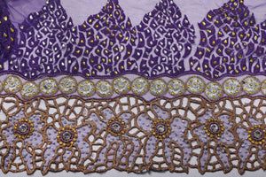 Hand Embroidered Blouse Design # 3175 - Purple - 1.7 Yards