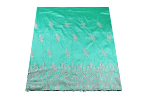 Machine Embroidered George Wrapper Design # 7452 - Aqua Green - With Blouse