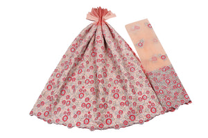 Hand Stoned George Wrapper Design # 6745 - Peach - With Blouse